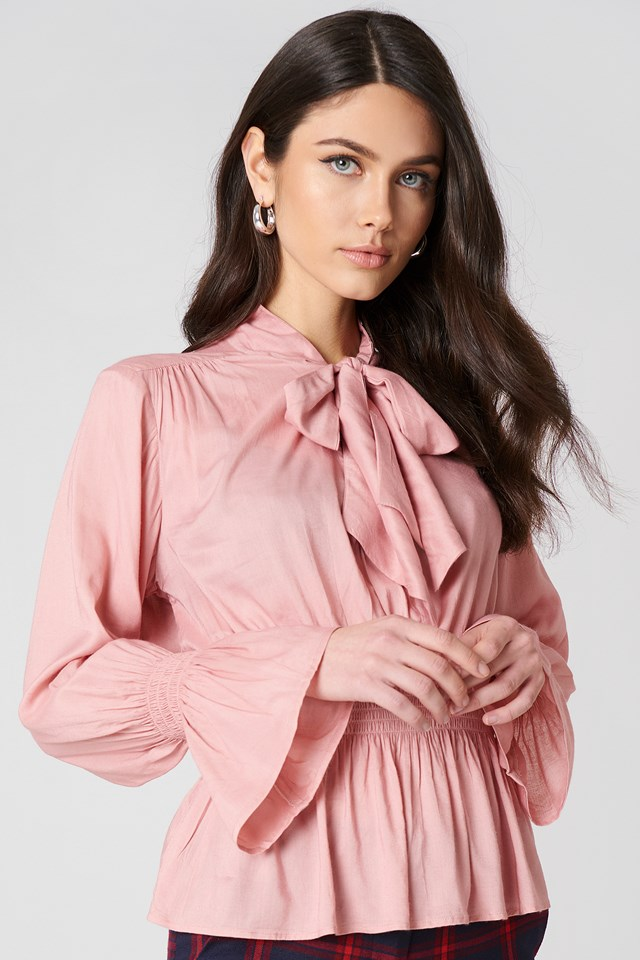 Shirred Detail Tie Neck Blouse Dusty Pink