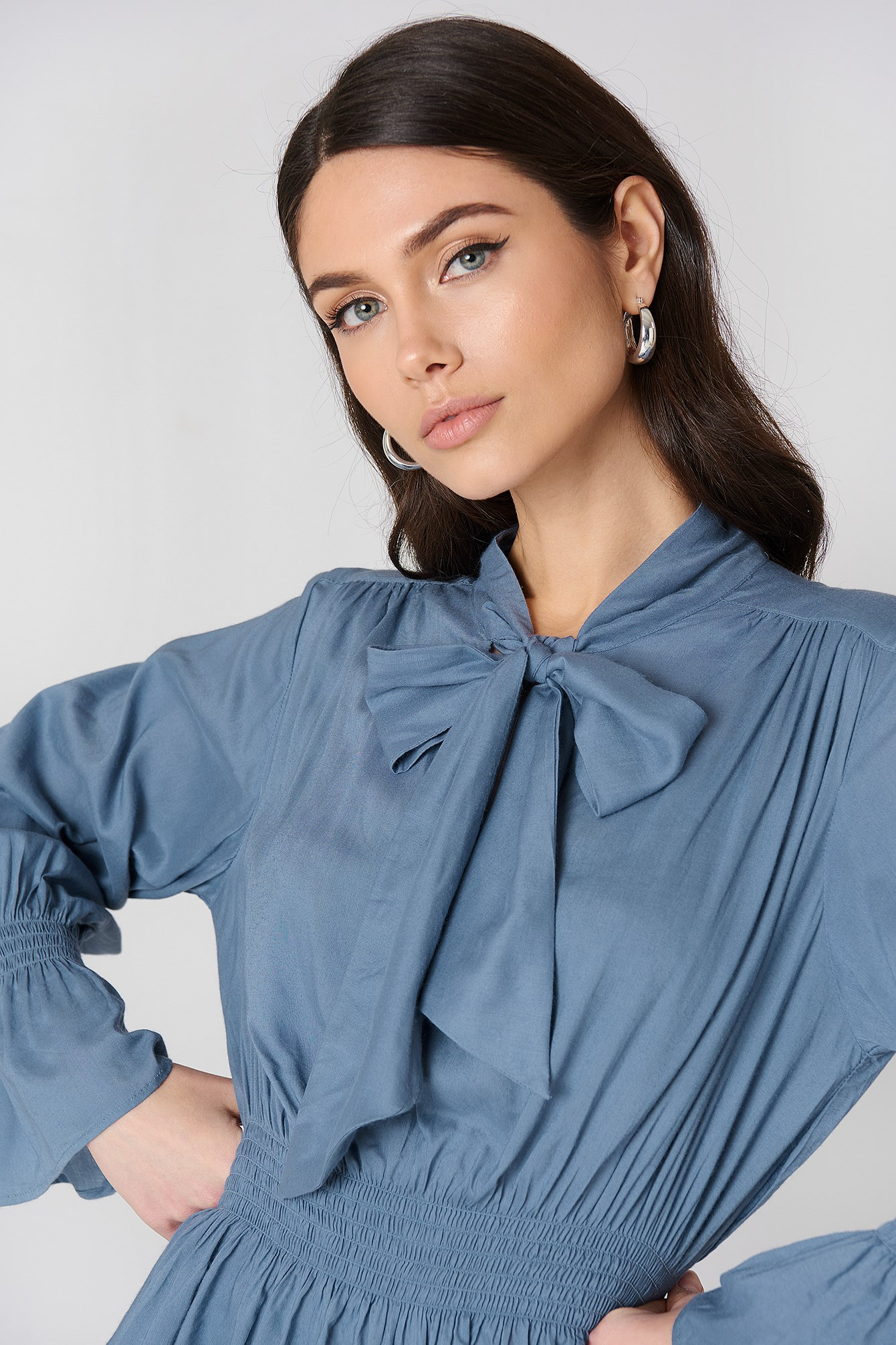 Shirred Detail Tie Neck Blouse NA-KD.COM