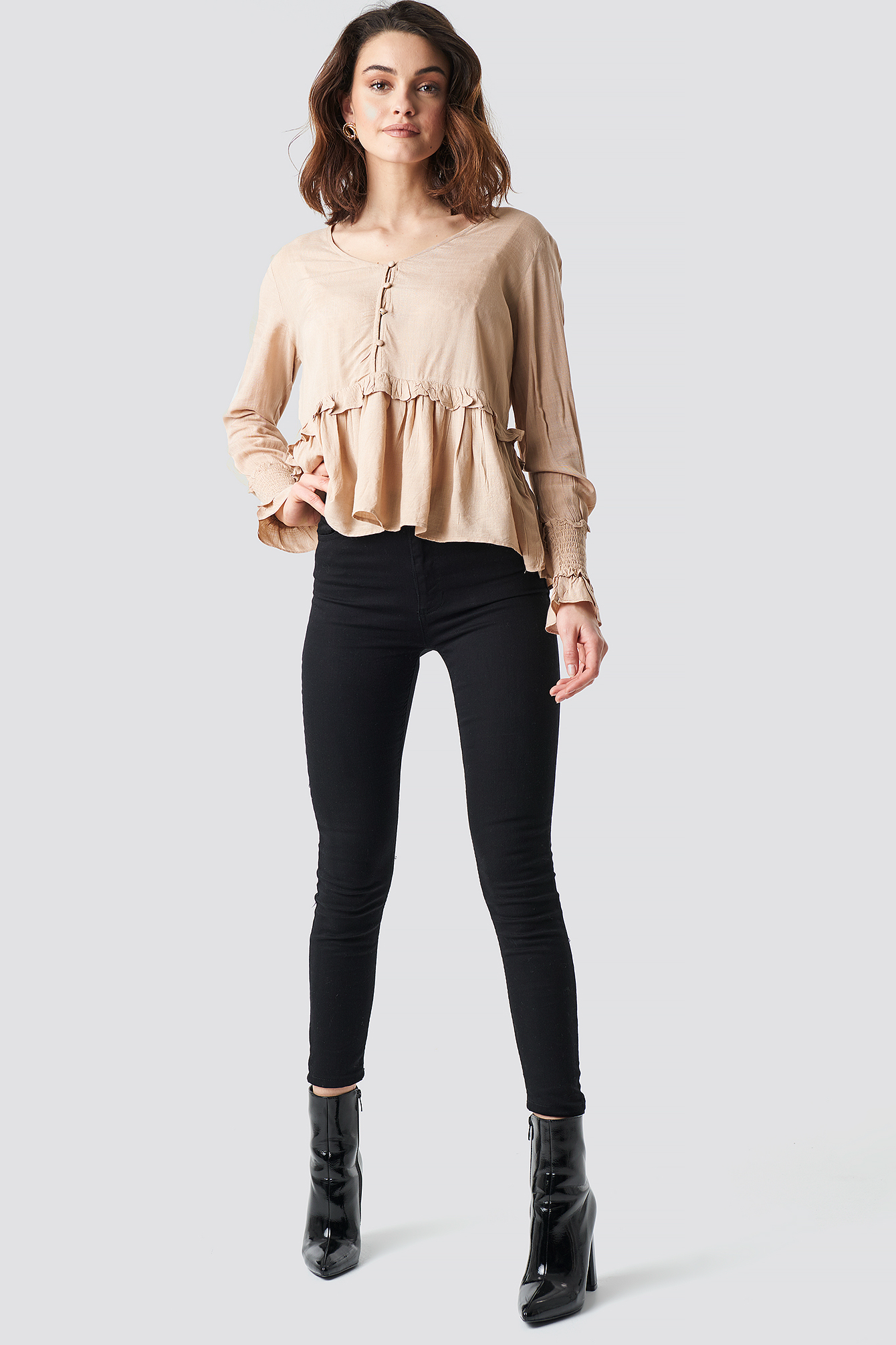 Shirred Detailed Sleeve Blouse NA-KD.COM