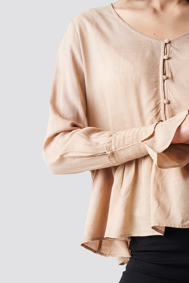 Shirred Detailed Sleeve Blouse Nude