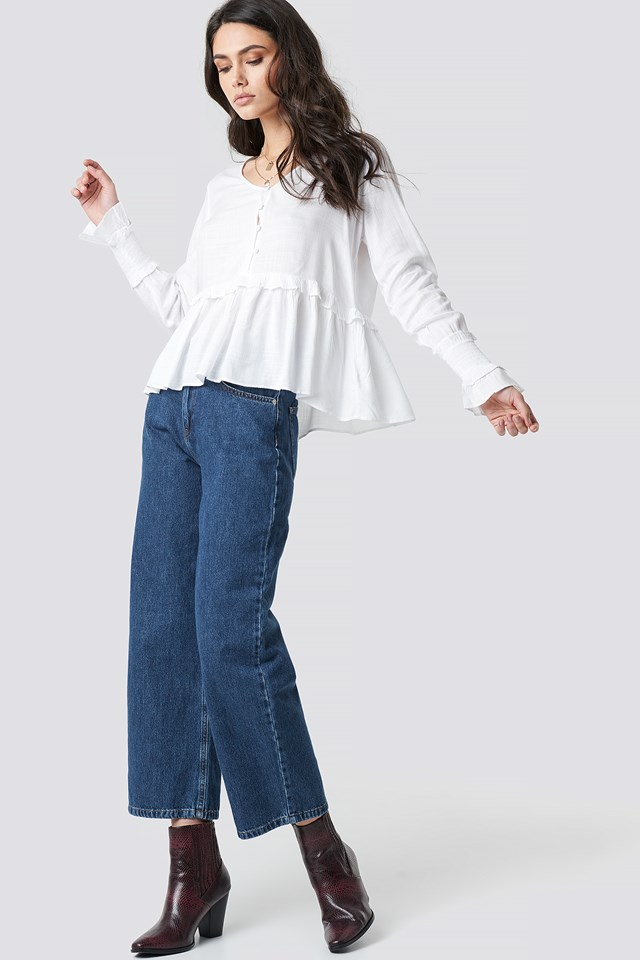 Shirred Detailed Sleeve Blouse White