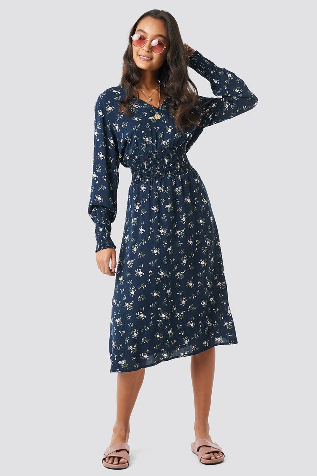 Shirred Flower Printed Dress Dark Blue