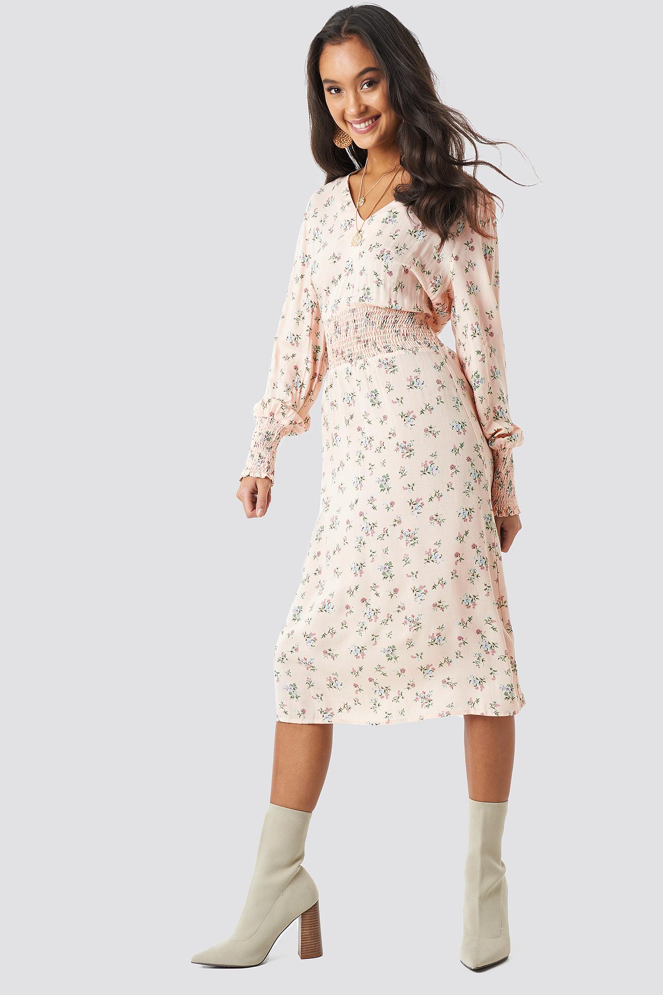 Shirred Flower Printed Dress NA-KD.COM