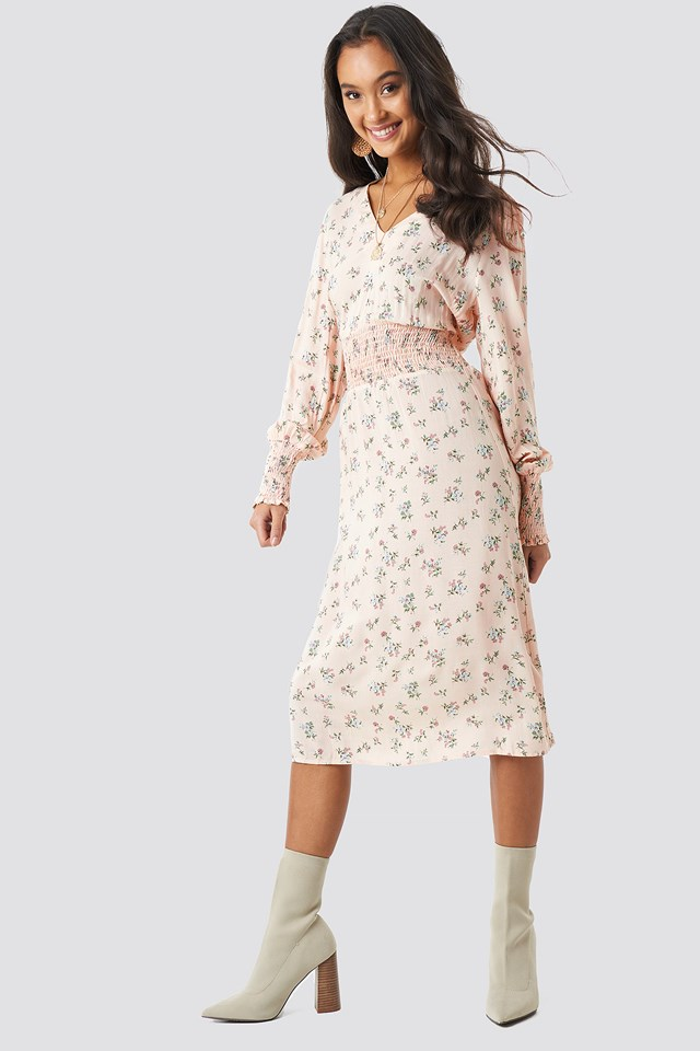 Shirred Flower Printed Dress Cream