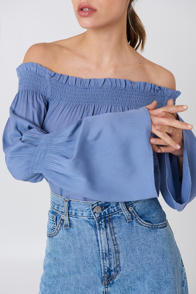 Top Shirred Frill Dusty Blue