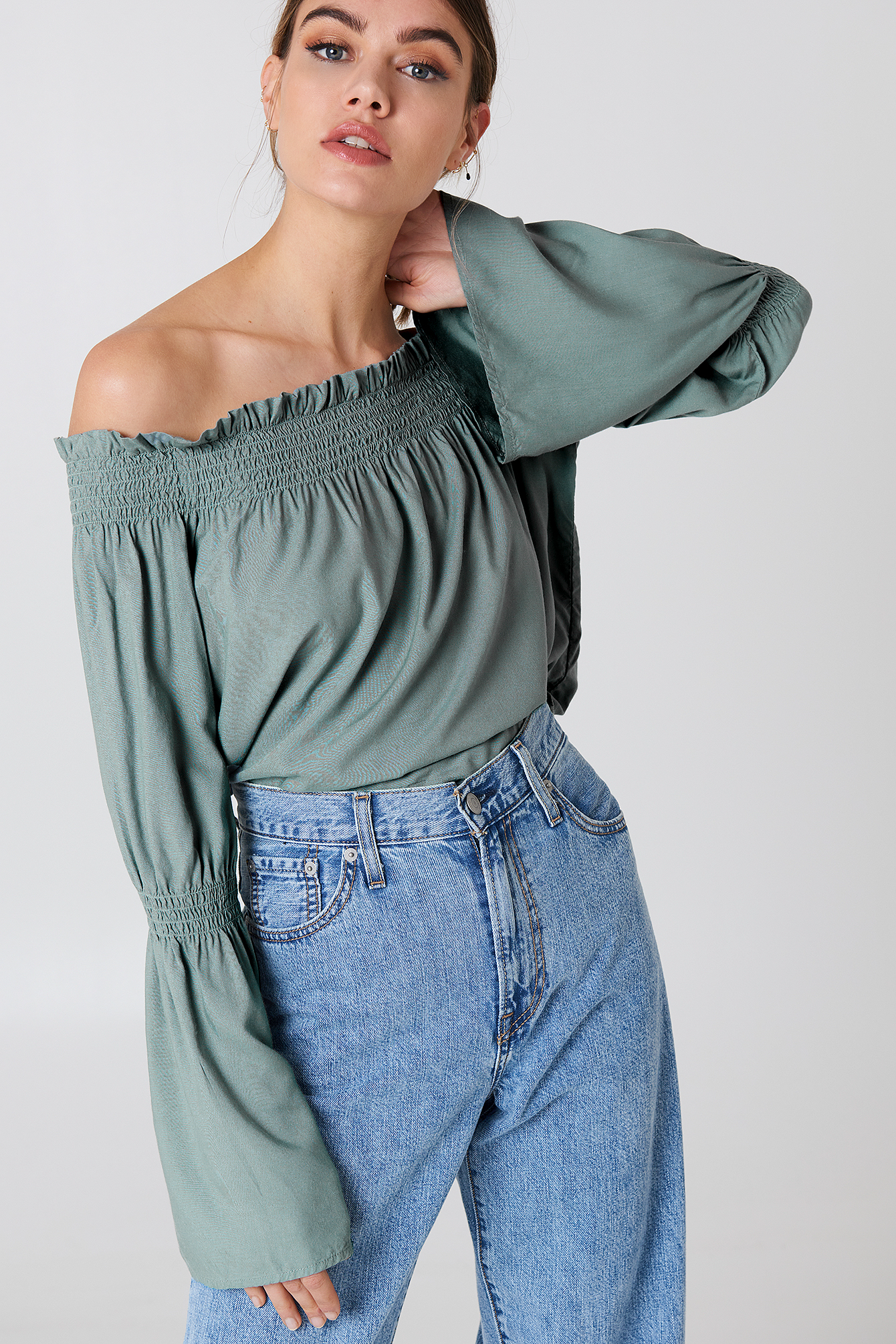 Shirred Frill Off Shoulder Top