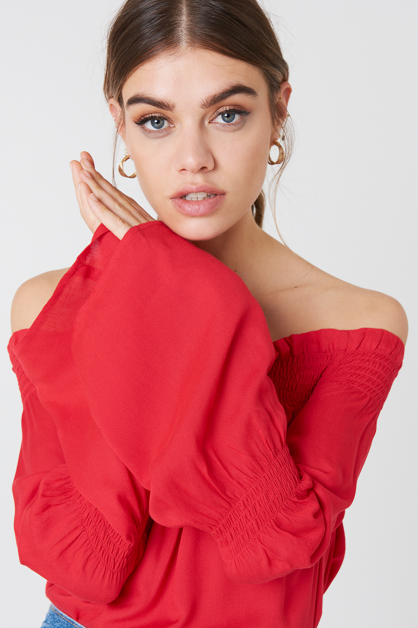 na-kd boho -  Shirred Frill Off Shoulder Top - Red