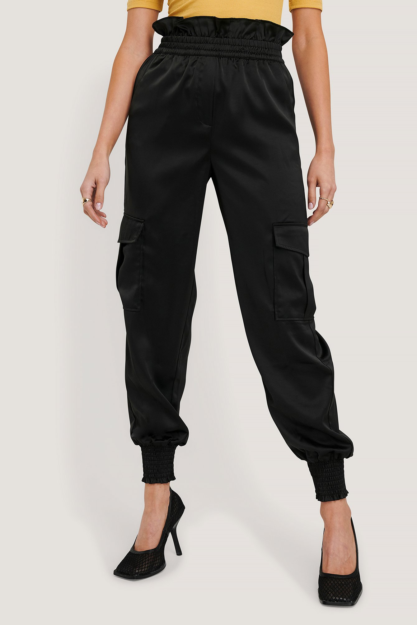 Black Shirred Hem Cargo Pants