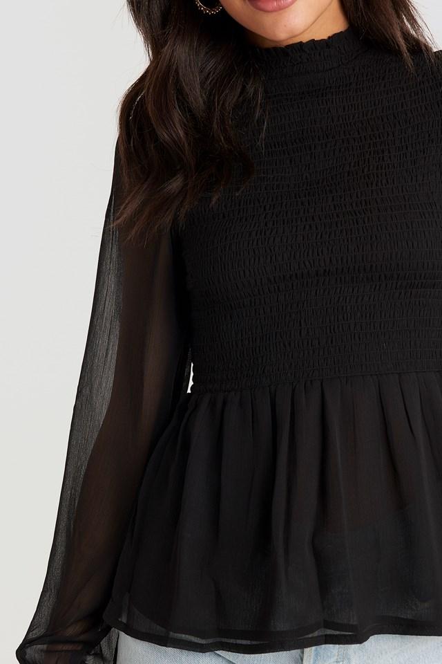 Shirred High Neck Blouse Black