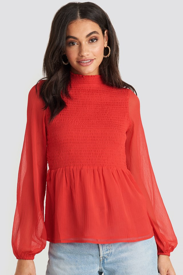 Shirred High Neck Blouse Red