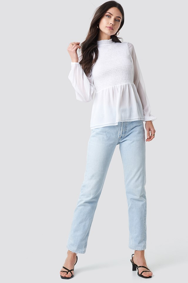 Shirred High Neck Blouse NA-KD.COM
