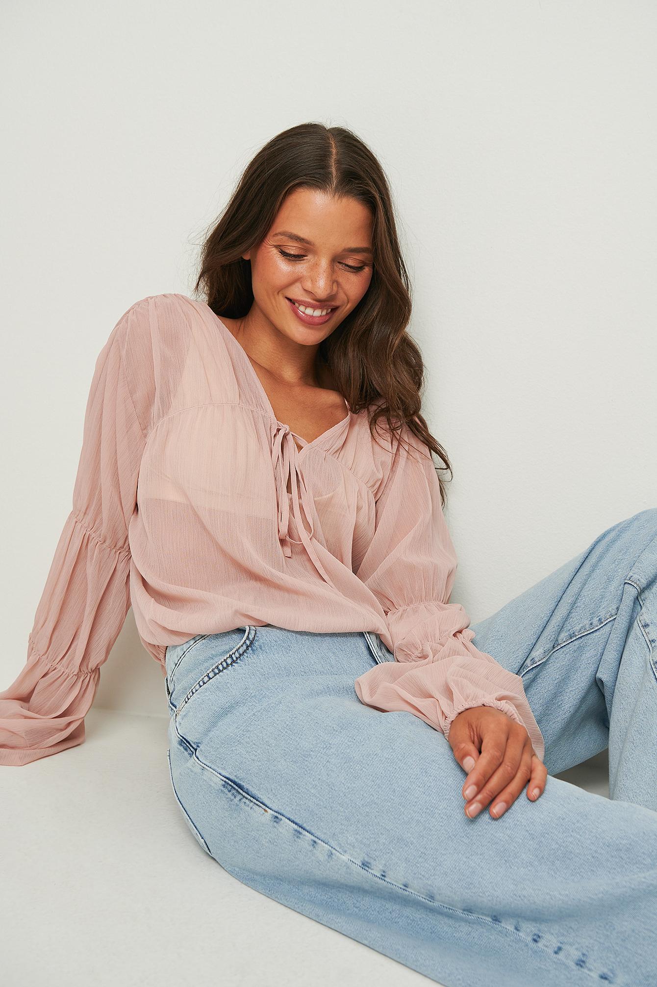 na-kd -  Geraffte Bluse Mit Langen Ärmeln - Pink