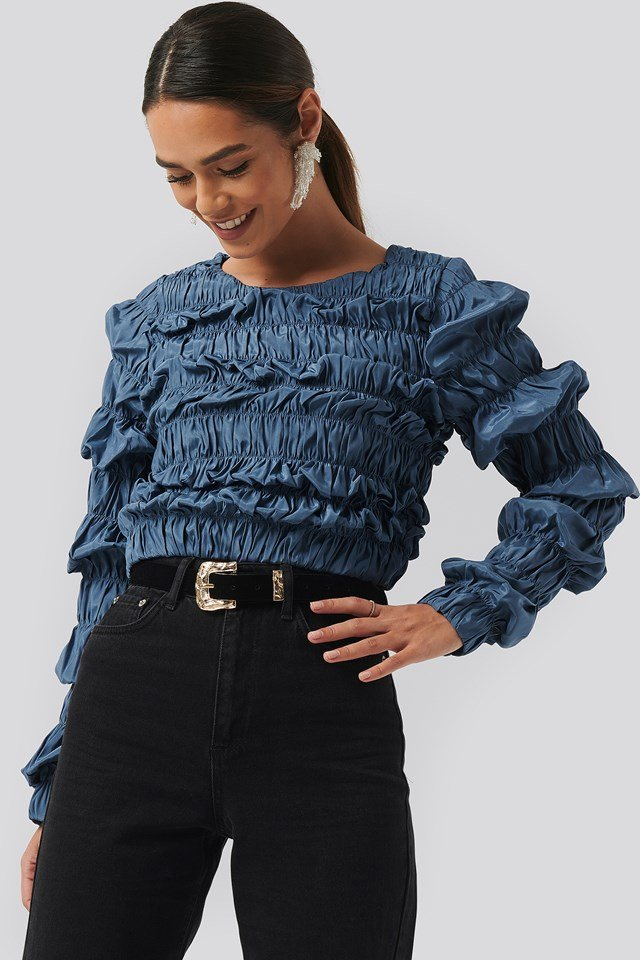 Shirred Long Sleeve Top Blue