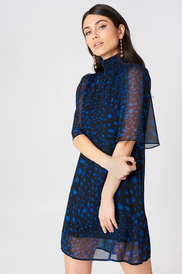 Shirred Neck Straight Dress Blue Leo Print