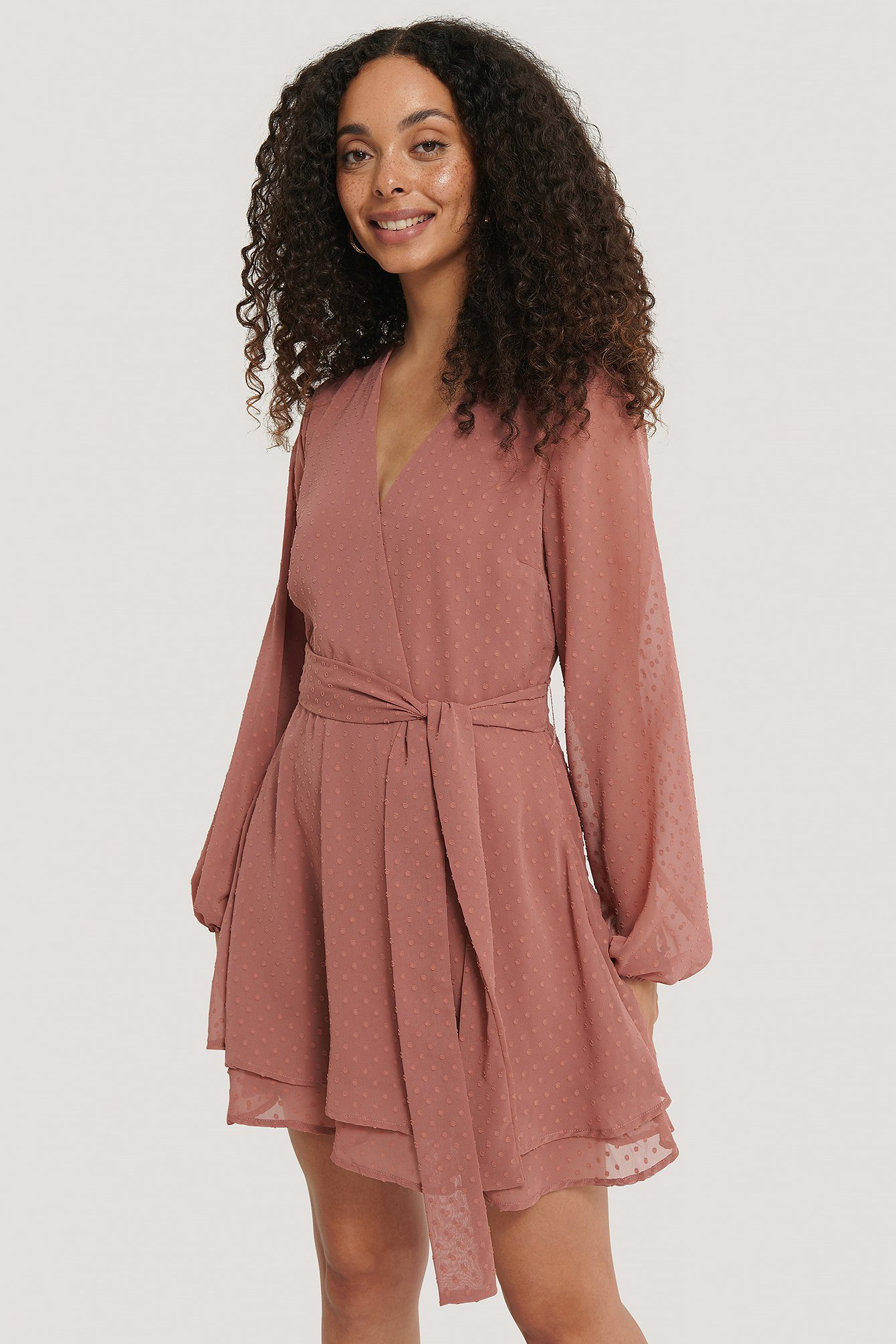 Dark Pink Shirred Overlap Dobby Dress