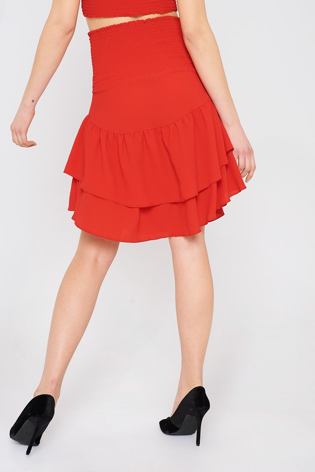 Shirred Part Flounce Skirt Cherry