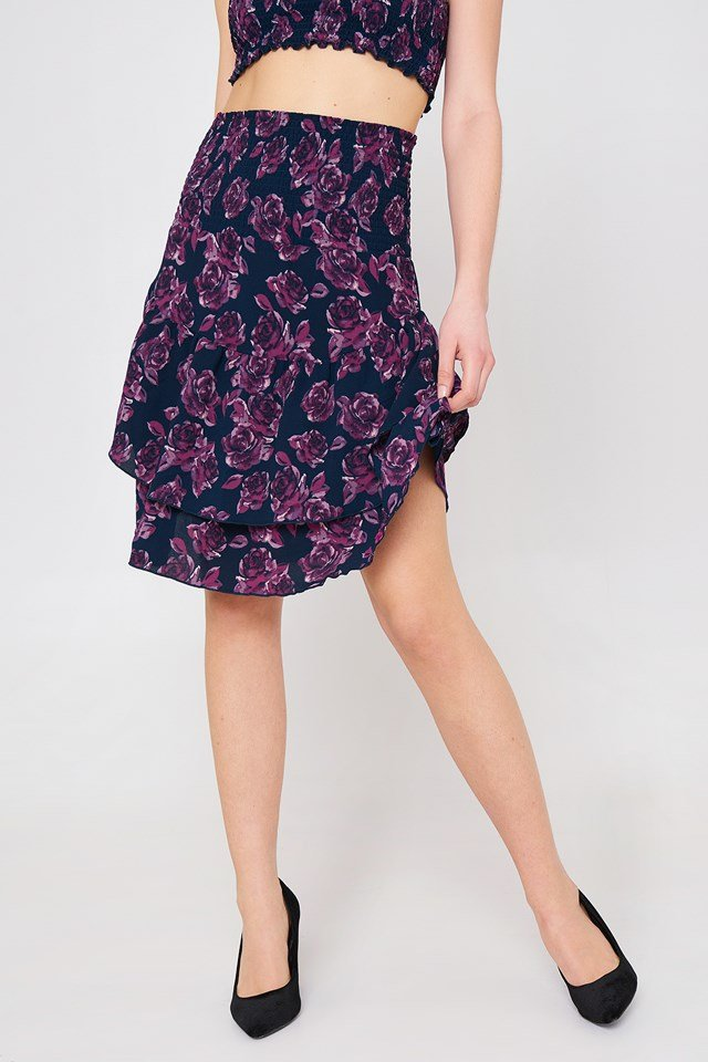 Shirred Part Flounce Skirt Navy/Purple