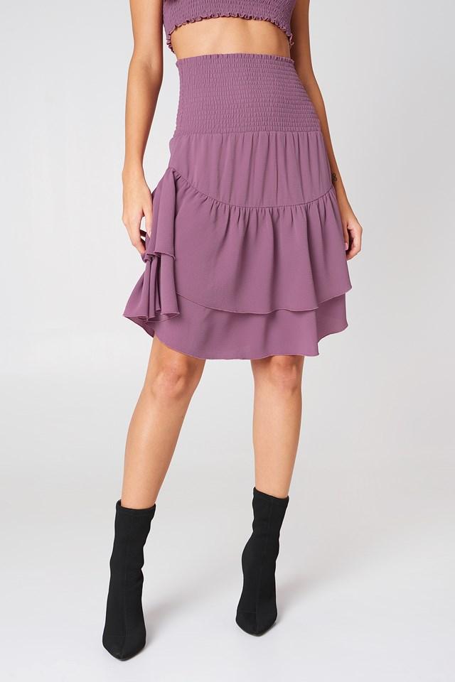 Shirred Part Flounce Skirt Dusty Purple
