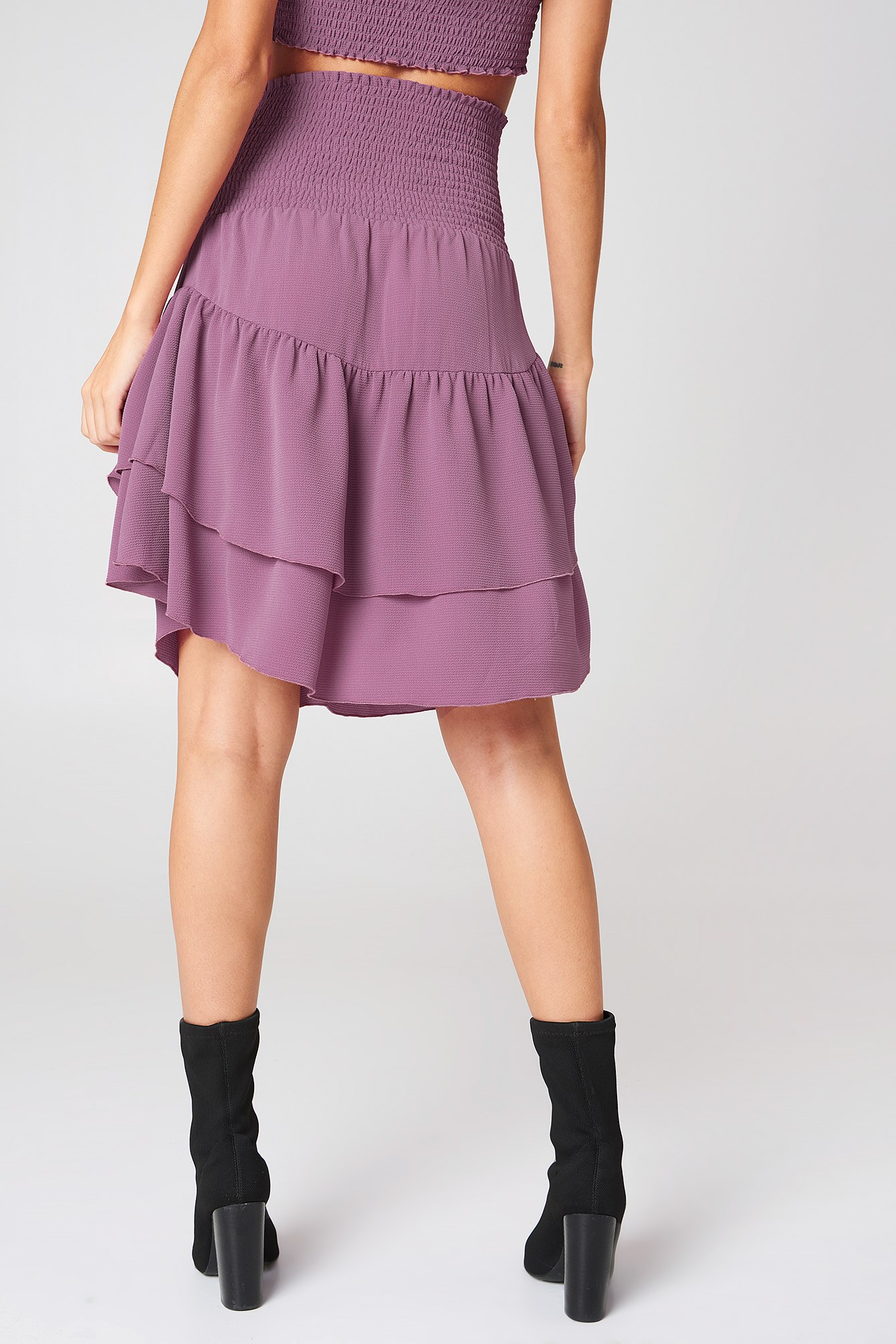 Shirred Part Flounce Skirt  NA-KD.COM