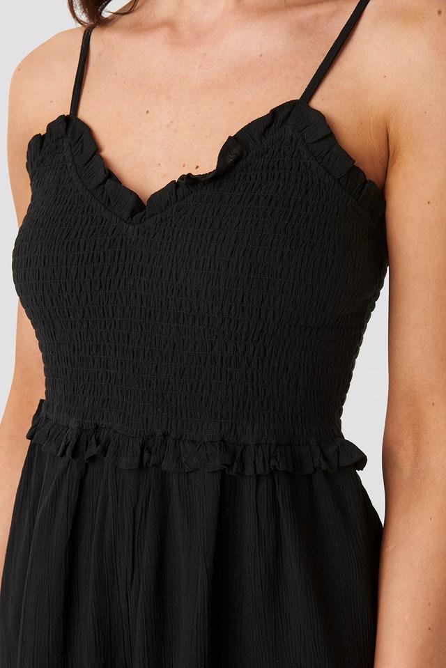 Shirred Part Strap Playsuit Black