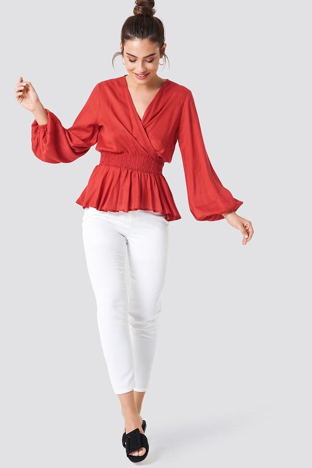 Shirred Waist Balloon Sleeve Blouse Red