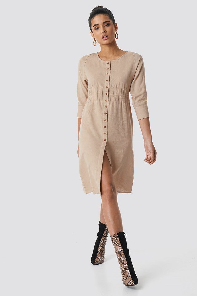 Shirred Waist Buttoned Midi Dress NA-KD