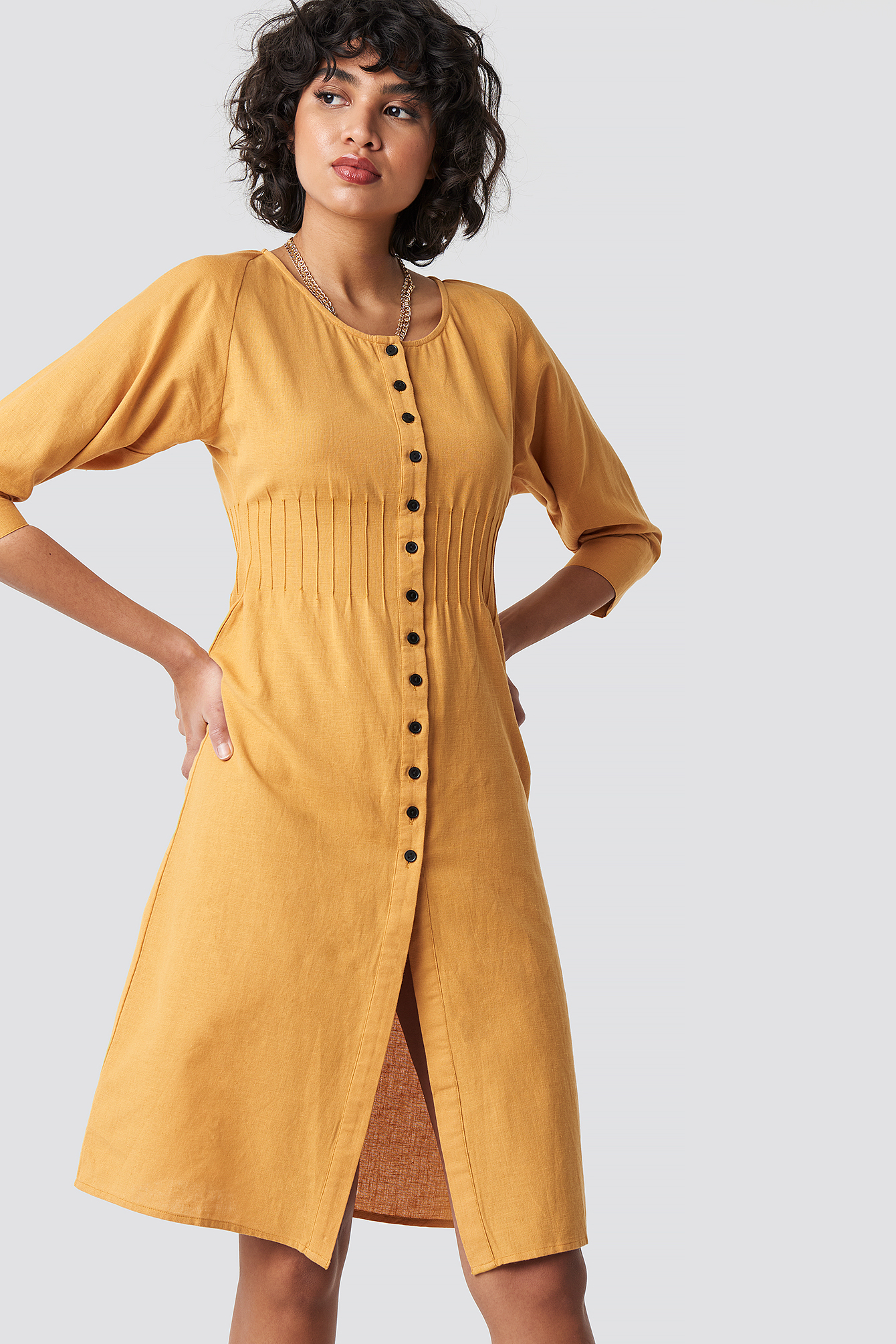 Shirred Waist Buttoned Midi Dress NA-KD.COM