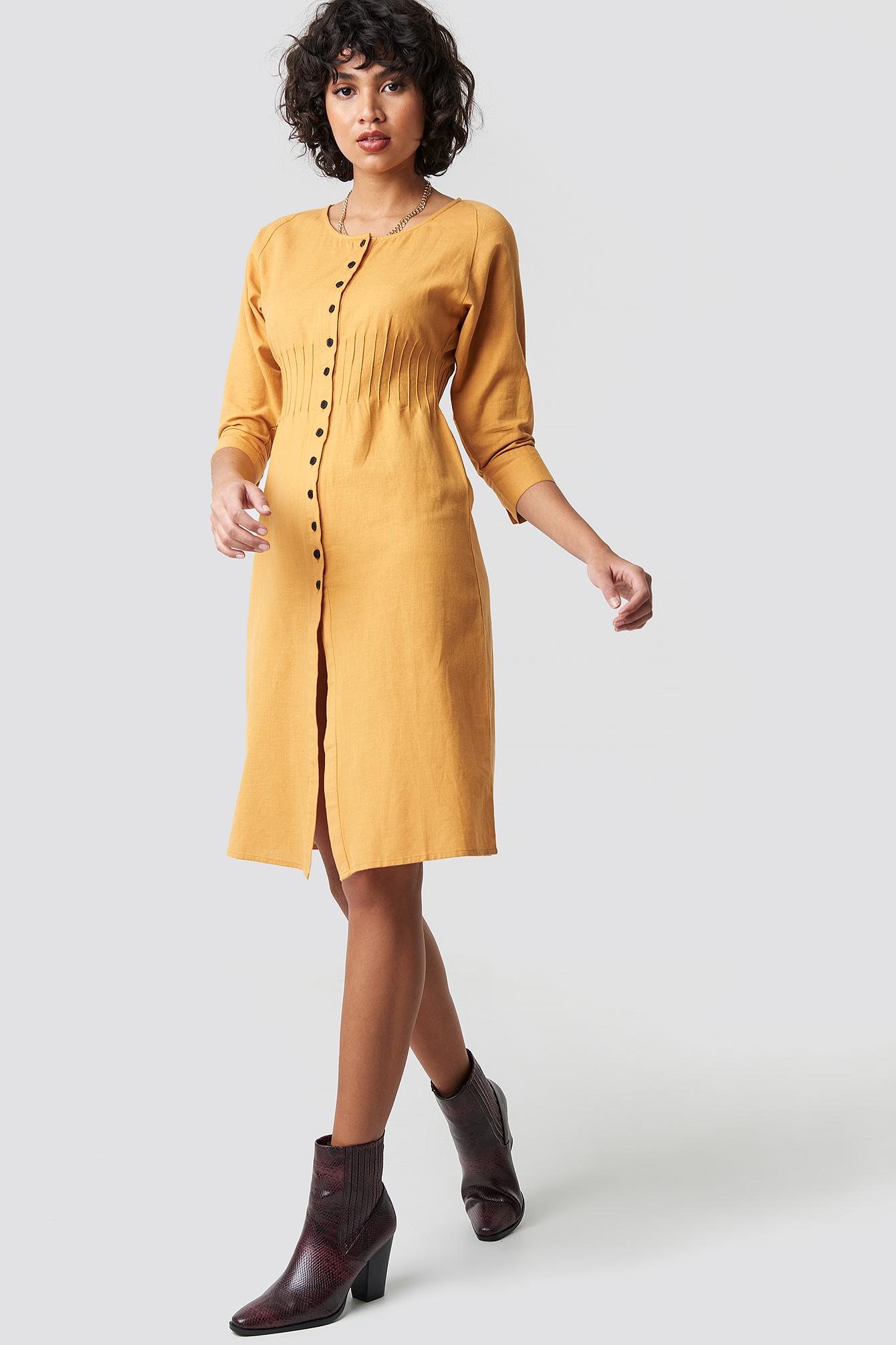 Shirred Waist Buttoned Midi Dress NA-KD.COM