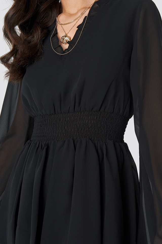 Shirred Waist Detail Dress Black