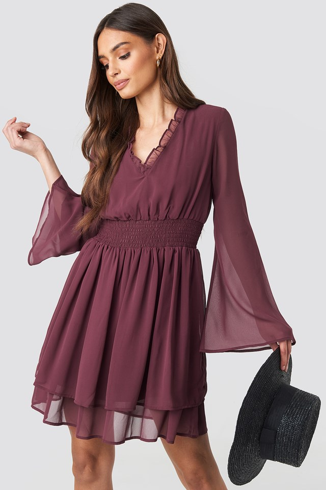 Shirred Waist Detail Dress Burgundy