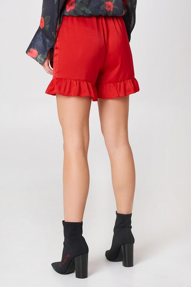 Shirred Waist Frill Shorts Red
