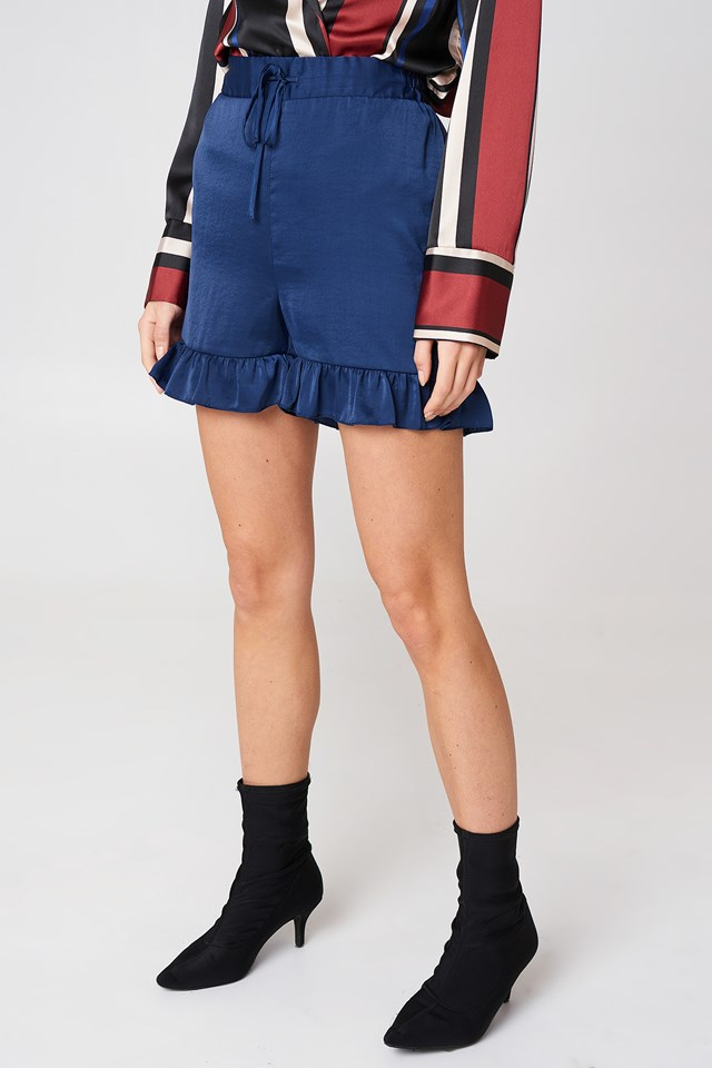 Shirred Waist Frill Shorts Dark Blue