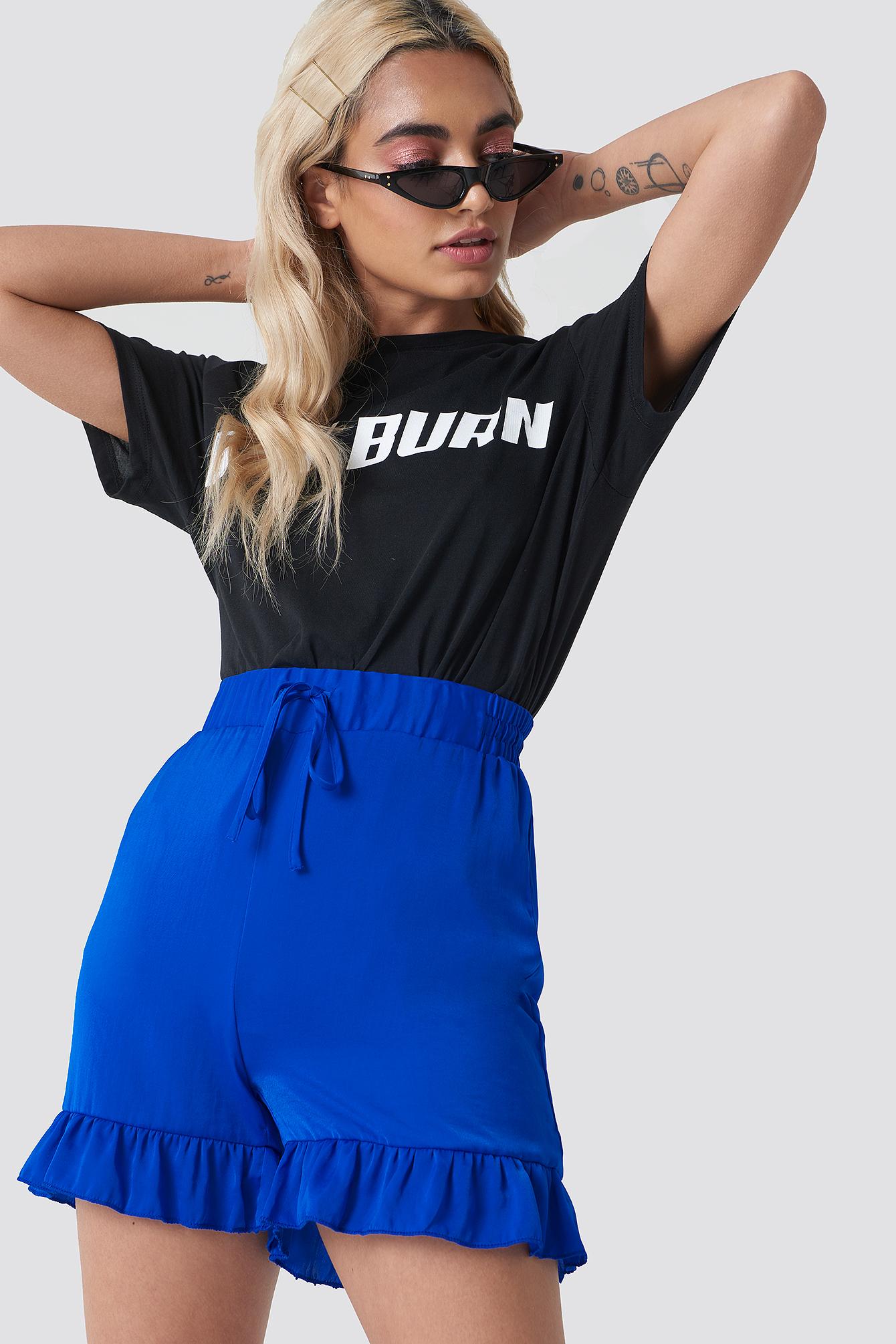 NA-KD Shirred Waist Frill Shorts - Blue