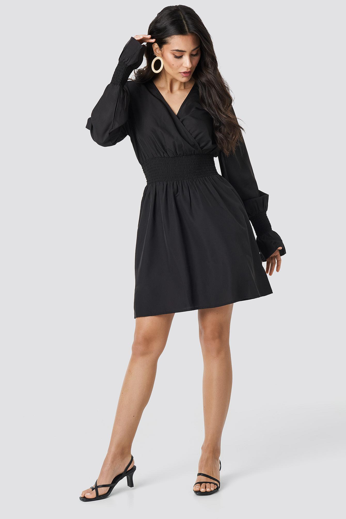 Shirred Waist Wrap Mini Dress