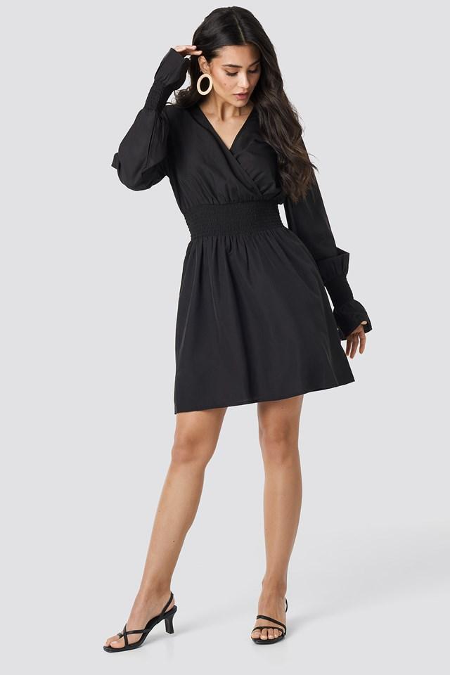 Shirred Waist Wrap Mini Dress Black