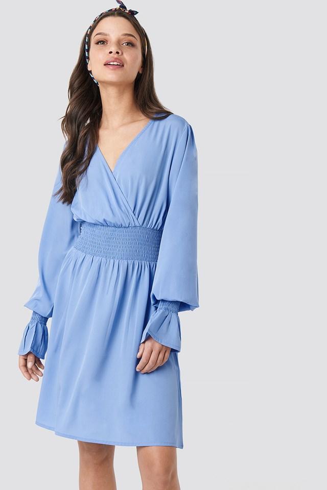 Shirred Waist Wrap Mini Dress Light Blue
