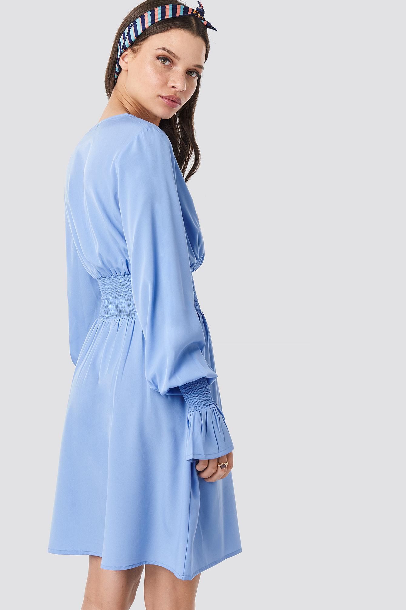 Shirred Waist Wrap Mini Dress NA-KD.COM