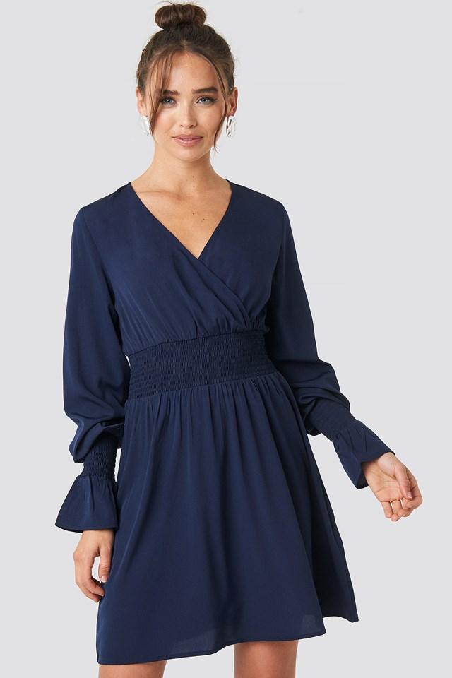 Shirred Waist Wrap Mini Dress Blue