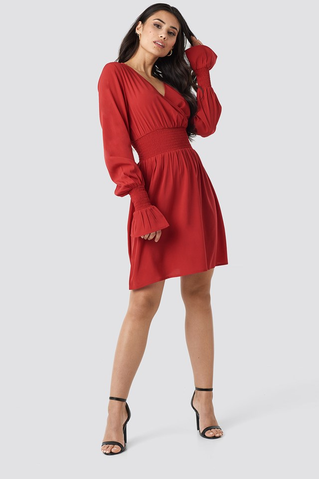 Shirred Waist Wrap Mini Dress Red