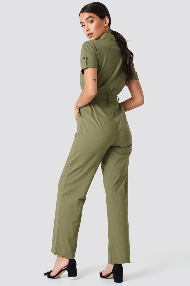 Shirt Tie Waist Jumpsuit Army Green