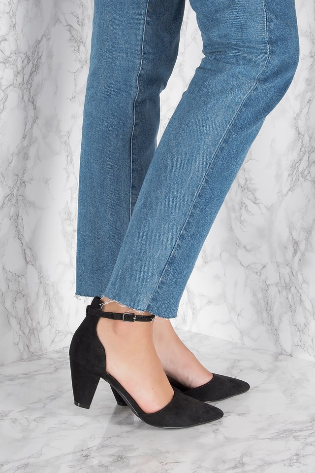 Pointy Mid Heel Pumps Black