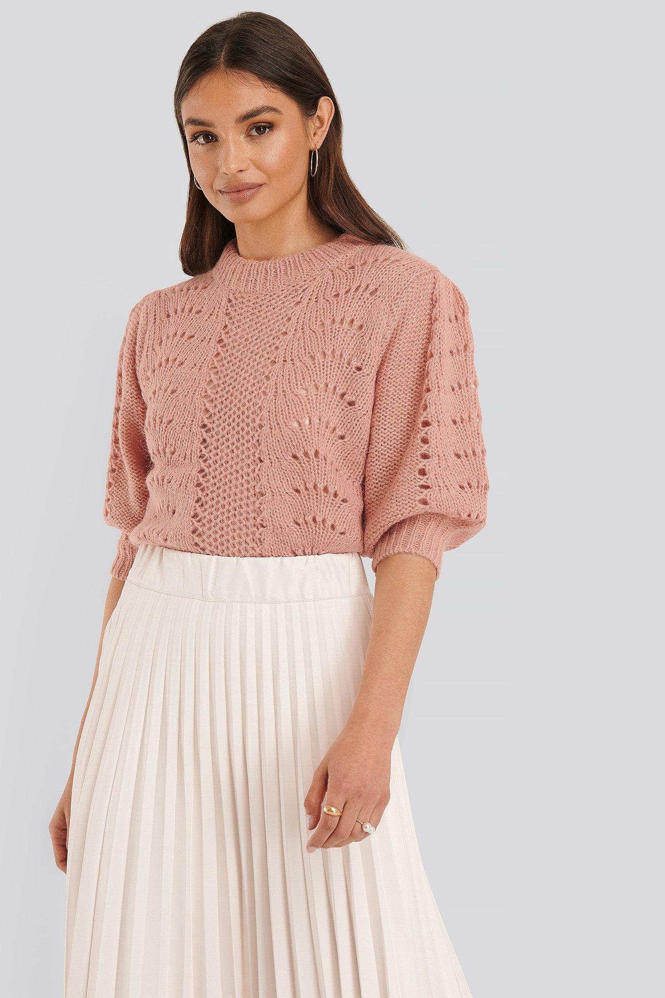 NA-KD Trend Kurze Strickweste Mit Ballonärmeln - Pink | Bekleidung > Strickjacken & -mäntel | NA-KD Trend