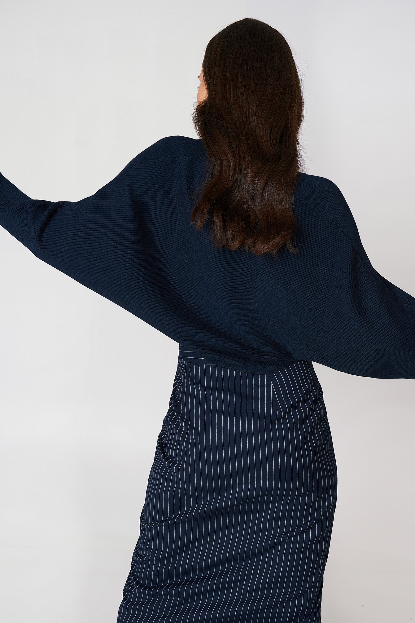 Navy Short Batwing Sweater