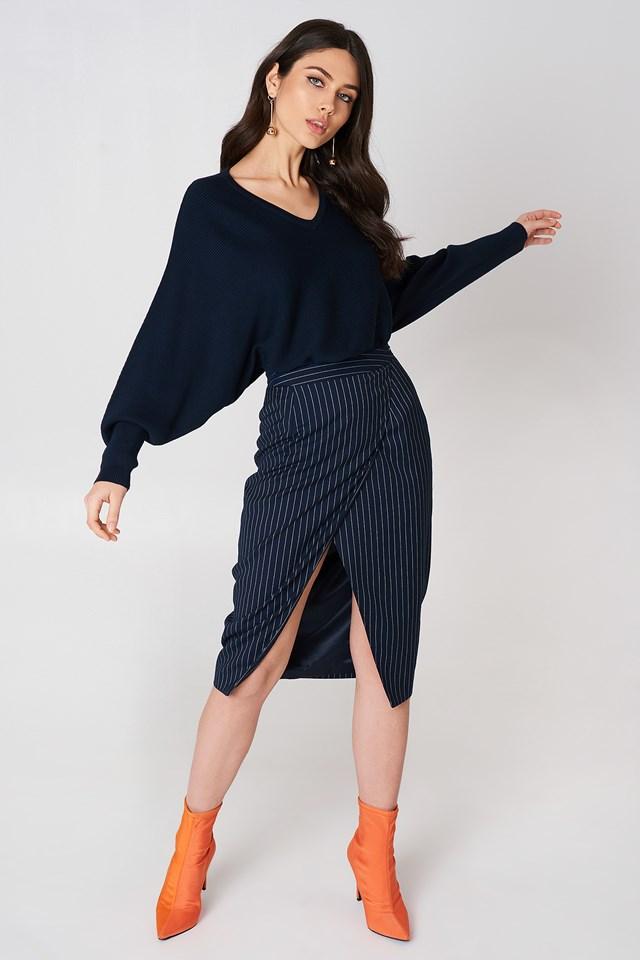 Short Batwing Sweater Navy Na Kd