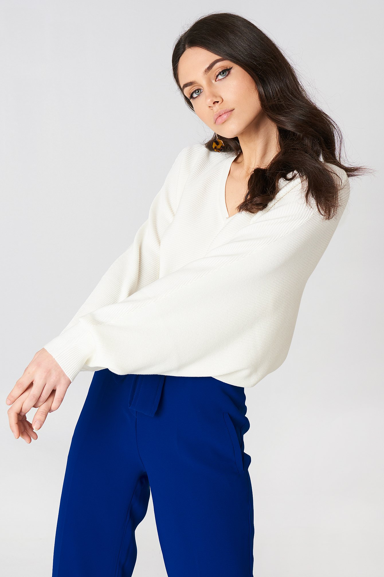 SHORT BATWING SWEATER - OFFWHITE