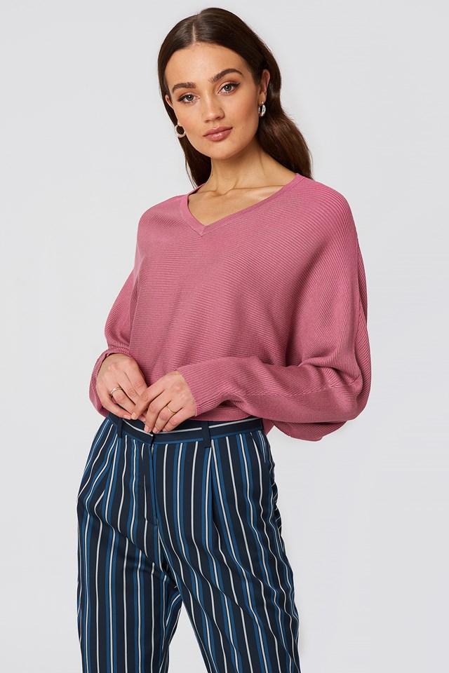 Short Batwing Sweater Purple Rose