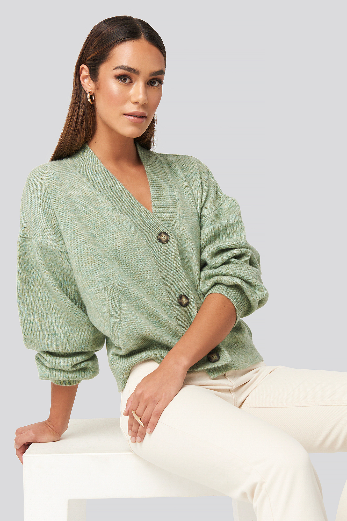 na-kd trend -  Short Button Front Cardigan - Green