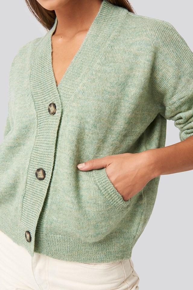 Short Button Front Cardigan Mint