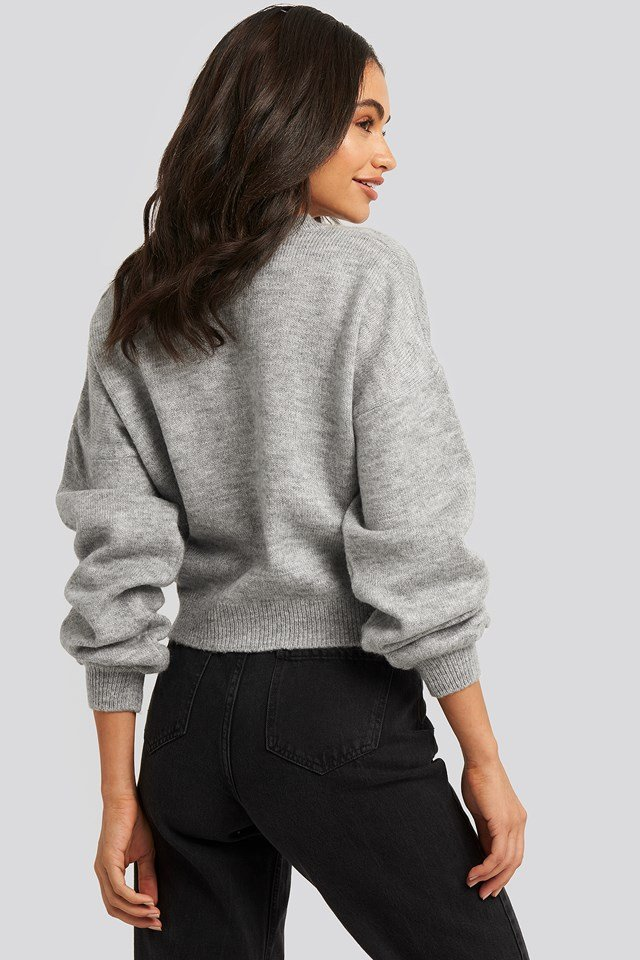 Short Button Front Cardigan Grey