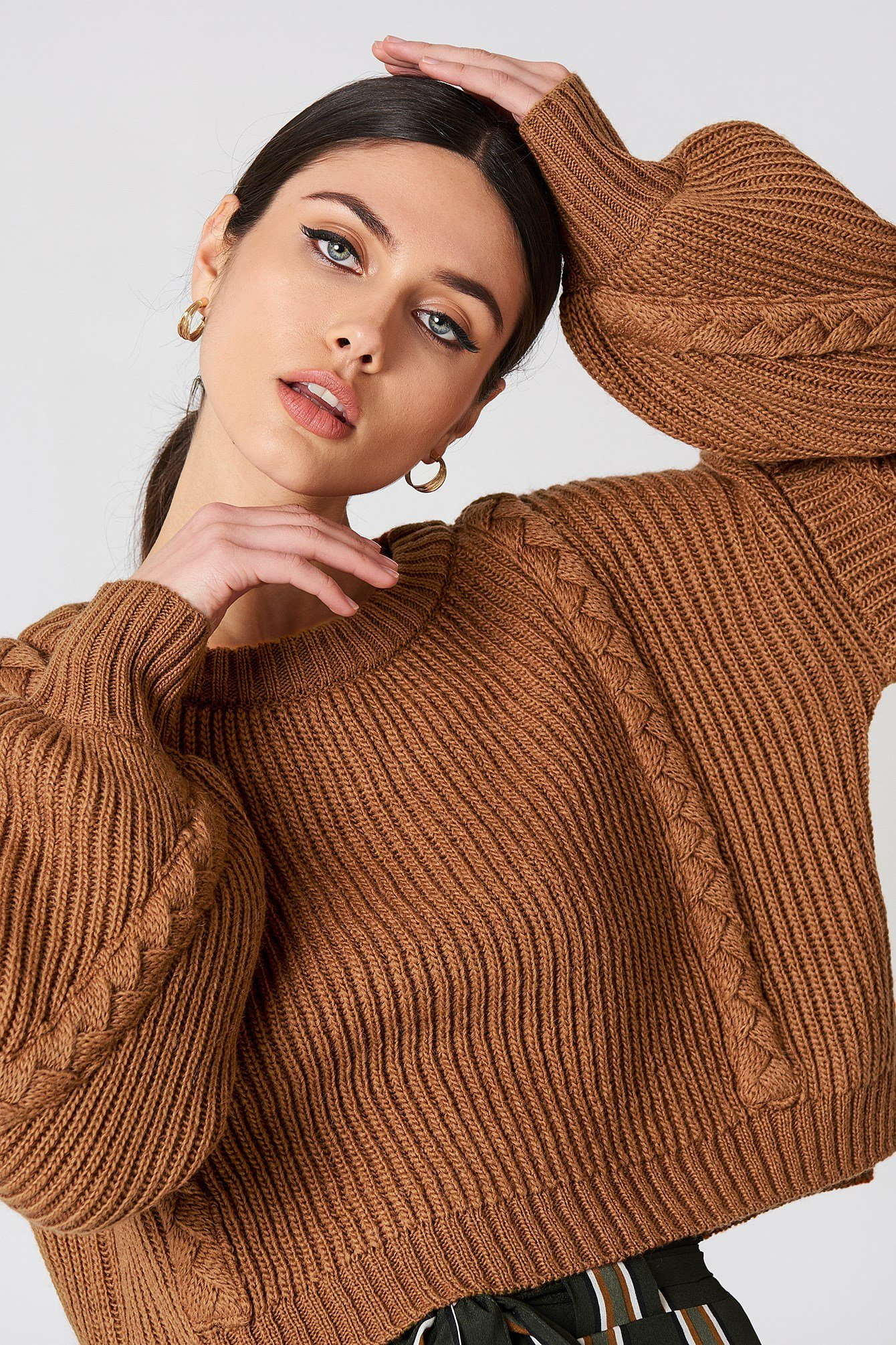 Short Cable Knitted Sweater NA-KD.COM